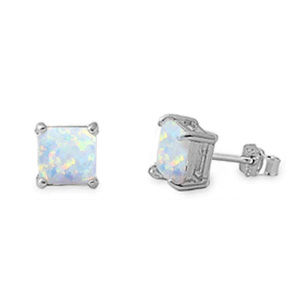 Princess Cut Lab White Opal Solitaire Stud Earring